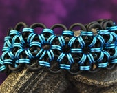 Black and Ice Blue Stretchy Bracelet B136