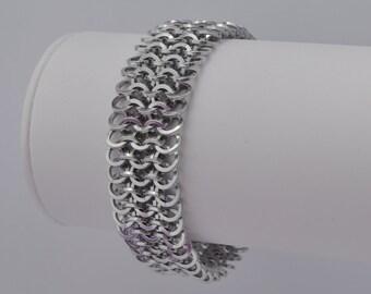 Square Bright Aluminum EU 4in1 Weave Bracelet B156