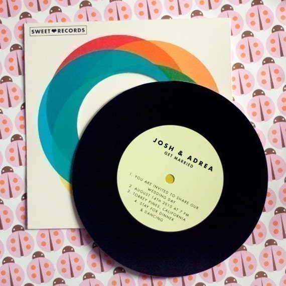 Record with Sleeve - Wedding invitation