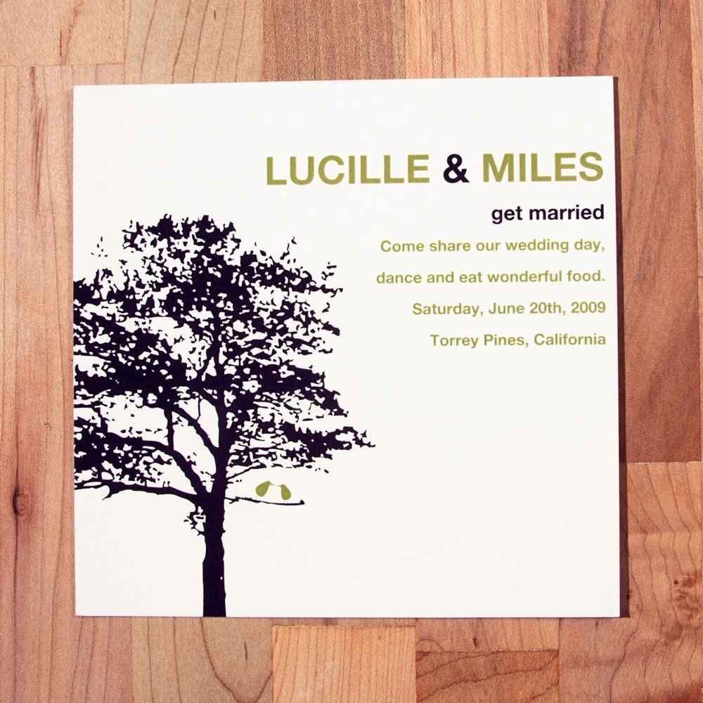Simple Wedding Invitation Wording: Two Birds One Tree Wedding Invitation By ElloThere On Etsy
