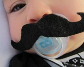 All Clear BLACK Mustachioed Pacifier (0-6mo)