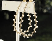 Pearl Adorned Gold Open Hoop Earrings