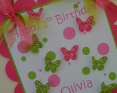 Customized Hot Pink and Lime Green 3D Butterfly Door Sign