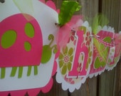 Happy Birthday Banner in Pink and Lime Greens with Ladybugs