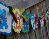 Seasame Street HAPPY BIRTHDAY and NAME banner combo in primary colors with Big Bird, Elmo and Cookie Monster