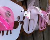 HAPPY BIRTHDAY and NAME banner combo in pinks and browns with pink and brownLadybugs