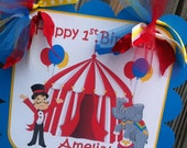 Customized Circus Themed Door Sign in Red, Turquoise & Yellow