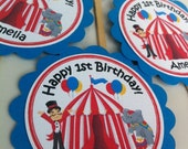 Customized Circus Themed CUPCAKE TOPPERS in Red, Turquoise & Yellow set of 24