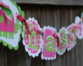 Cute Name Banner in Hot Pink Lime and White