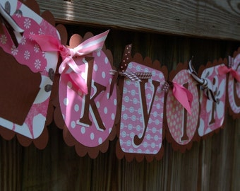 Cute Name Banner In Hot Pink and Chocolate Brown
