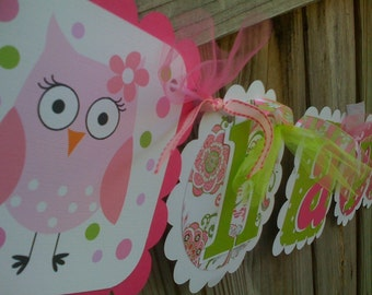 HAPPY PINK OWL HAPPY BIRTHDAY BANNER IN PINK AND LIME GREENS