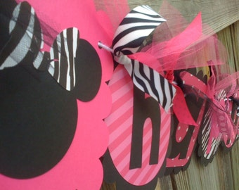 MINNIE MOUSE HAPPY BIRTHDAY BANNER IN HOT PINK BLACK AND ZEBRA PRINT