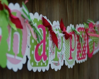 Happy Birthday Banner in Hot Pink & Lime Green with Cupcakes