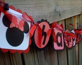 Minnie Mouse Happy Birthday Banner in Red & Black