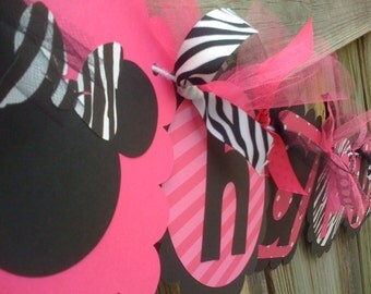 MINNIE MOUSE Happy Birthday Banner in Hot Pink Black & Zebra Print