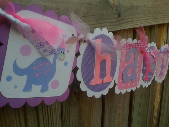 HAPPY BIRTHDAY BANNER In Pink and Purples with Cute Happy Birthday Dinosaurs