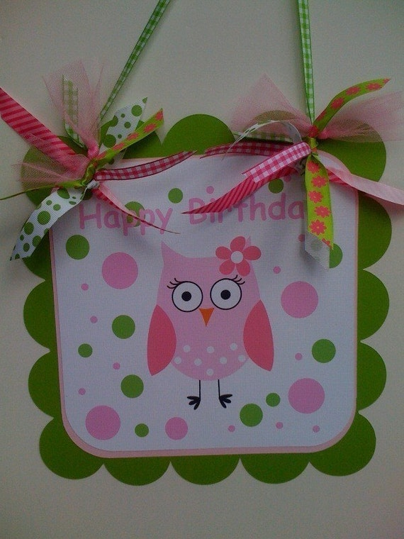 Customized Pink and Green POLKA DOT Pretty Girly OWL Birthday Sign