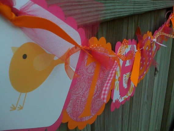 BIRDS OF A FEATHER Hot Pink & Orange Name Banner