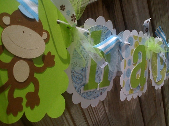 Light Blue and Lime Green HAPPY BIRTHDAY banner with Funky Monkeys