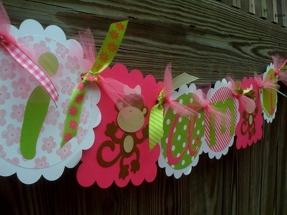 I Am 1  Highchair Banner in Lime Green and Hot Pink With Funky Monkeys