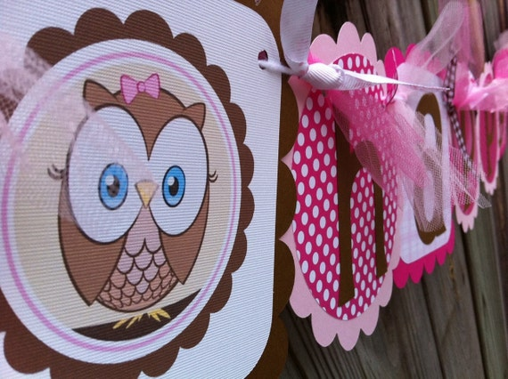 Happy Birthday Banner with cute Owls in Pinks and Browns