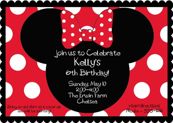 RED Minnie Mouse Birthday Party Invitation