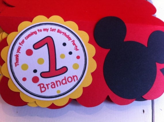 set of 12 MICKEY MOUSE customized treat/candy bags