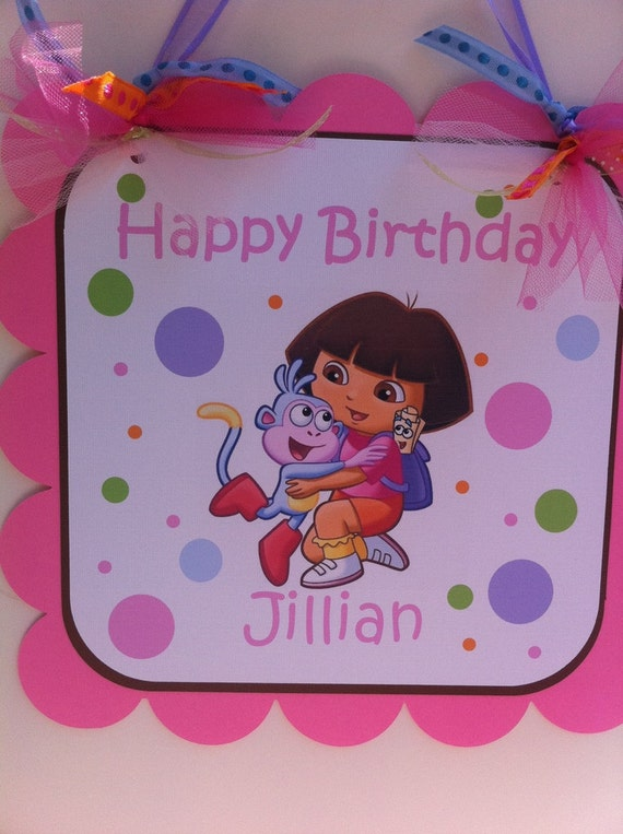 Customized DORA THE EXPLORER Door Sign in pinks and Lavenders