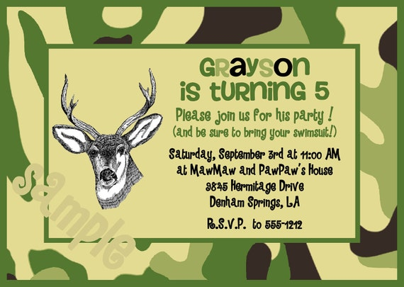 Items similar to Camouflage Hunting Birthday Invitation with a – Hunting Party Invitations