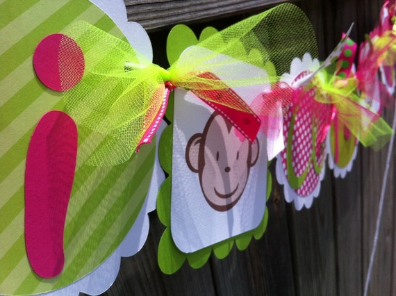 I AM 1  HIGHCHAIR Banner in Hot Pink & Lime Green with Funky Monkey for Girl