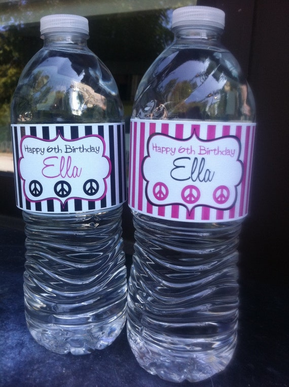 WATER BOTTLE Labels - Hot Pink & Black or ANY Theme    1 Dozen
