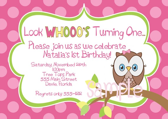Hoot Owl Birthday  Party Invitation  in Hot Pink, Lime, Yellow & Brown - Digital File Only