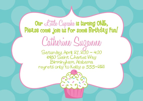 Turquoise And Pink Wedding Invitations: Cupcake Birthday Party Invitation PInk Turquoise And Lime