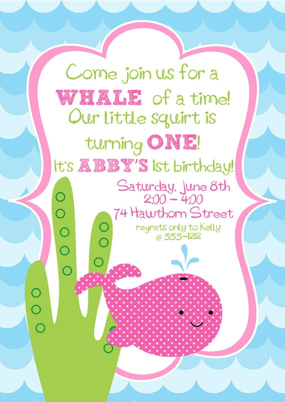 Items similar to Cute Hot Pink Girly Whale Birthday Party Digital ...
