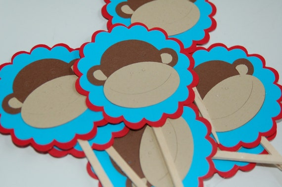 SCALLOPED EDGE RED ANDTURQUOISE FUNKY MONKEY CUPCAKE TOPPERS