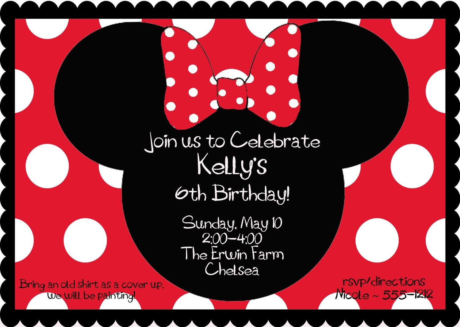 RED Minnie Mouse Birthday Party Invitation by BurleyGirlDesigns