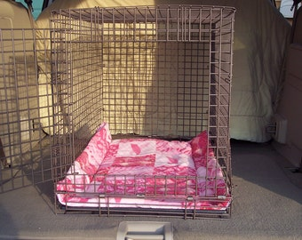 DOG CRATE BLANKET Breast Cancer Pink Print (size 35 1/2 x 23 inches)