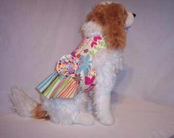 HARNESS PET DRESS Floral Printed  with Rosette