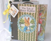 Altered Peter Rabbit Book - Altered Art Beatrix Potter Story - Coffee Table Book