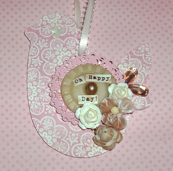 Altered Art Ornament - Oh Happy Day Little Bird