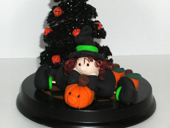 Halloween Witch Vignette - Handmade Polymer Clay