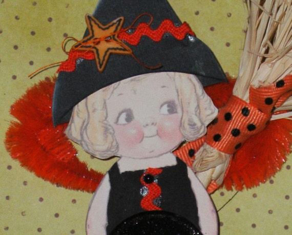 Halloween Witch Ornament - Dolly Dingle Button Doll