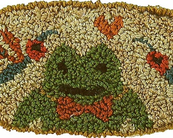 Frog and butterfly KIT for punchneedle embroidery by Karen Kahle//printed on weavers cloth//DMC floss included//Keep Smiling