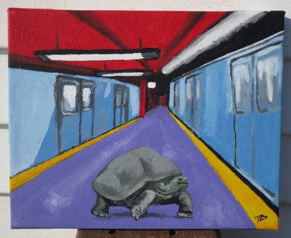 A faster way across town- original painting, tortoise in the subway