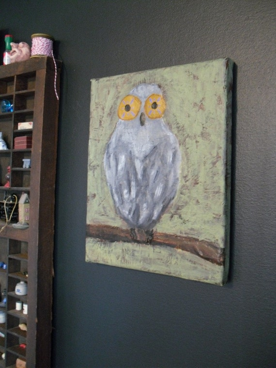 Gray owl with green background and gold eyes - original painting