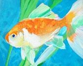 FISH GOLDFISH Original Painting of Orange Veiltail Goldfish with Java Fern Plant