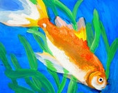 FISH GOLDFISH Original Painting of Comet Goldfish with Narrow Leaf Plant