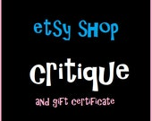 Etsy Shop Help,  Education Critique Report 3 Bonuses, and Gift Certificate