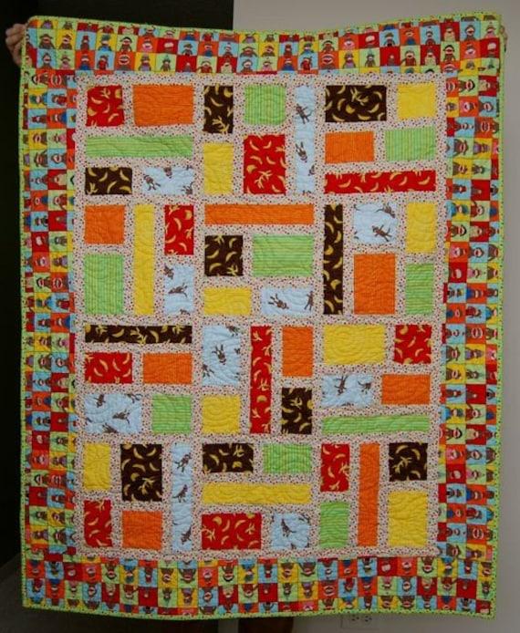 Funky sock monkey baby quilt moda fabric by platty82 on etsy for Baby monkey fabric prints