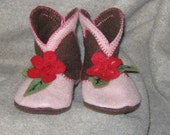 Baby Flower Cowgirl Boot-ies - size 3 - 6 months